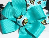 SALE Paisley Perfection Dog Collar with Turquoise Bow, Size XSmall ONLY