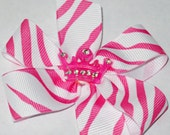 Limited Edition Pink Zebra and Rhinestones Princess Bow, Choose Your Size