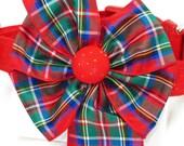 Royal Stewart Dog Collar with Tartan Bow, Choose Your Size