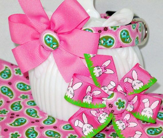 Twice the Easter Fun Dog Collar, Complete with Two Bows--Choose Your Size