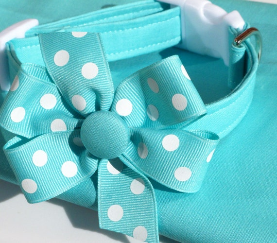 Absolutely Aqua Dog Collar with Polka Dot Bow, Choose Your Size