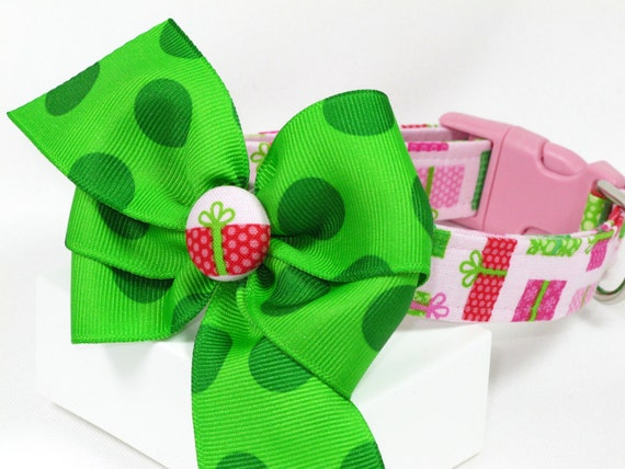 Christmas Presents on Pink Dog Collar with Bow, Choose Your Size