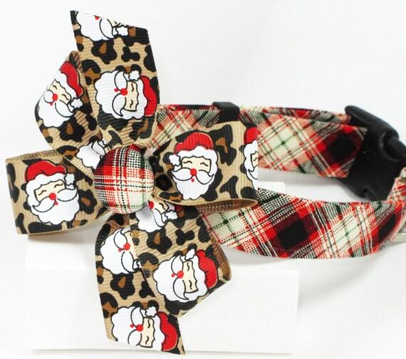 Santa Safari Christmas Dog Collar with Bow, Size SMall ONLY