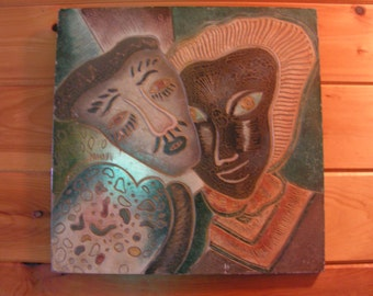 Bas Relief Creole New Orleans Jazz Cajun Sculpted Painting Mardi Gras