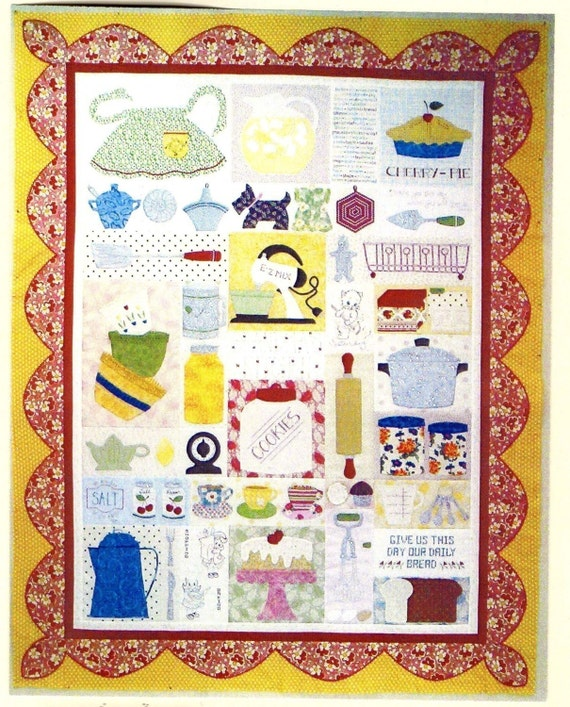 Items similar to grandma 39 s kitchen applique quilt pattern for Kitchen quilting ideas