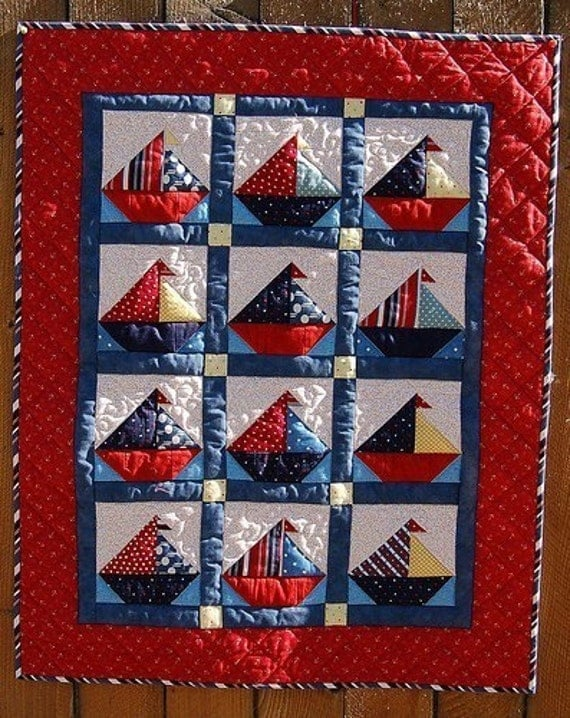 Items Similar To Sailboat Baby Quilt Pattern On Etsy