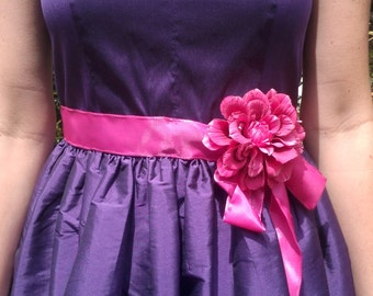 Maid of honor-purple dress with pink accent