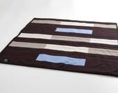Modern Cat Mat: mini quilt with tonal brown and blue bands, men's shirt fabrics