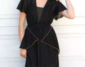 Reserved For Justine--Vintage 70s Black DISCO DREAM Dress S/M
