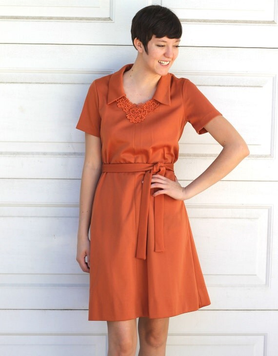 Vintage 1970s RUST Day Dress S/M