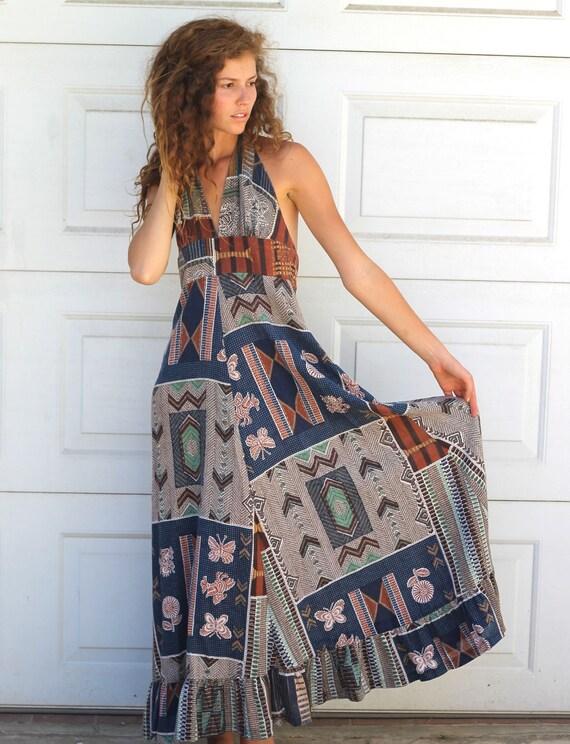 Vintage NATIVE AMERICAN Halter Dress S/M