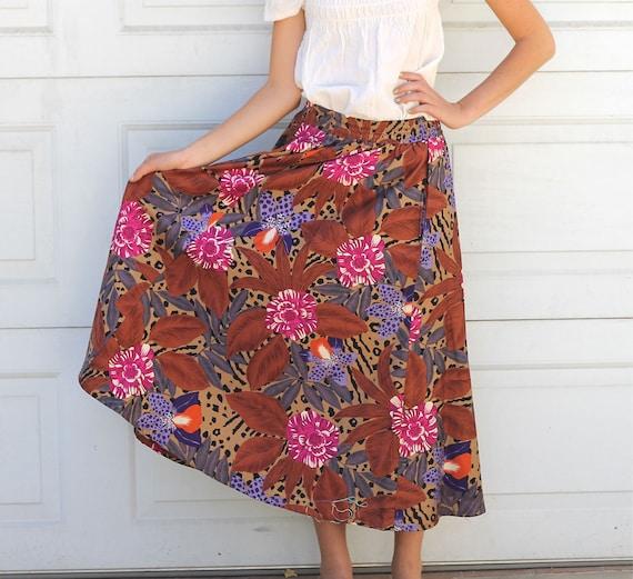 Vintage 80s EVAN PICONE Animal Print Floral Circle Skirt S/M