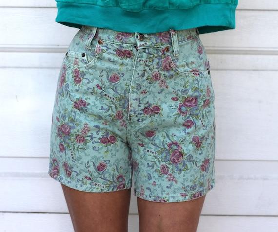 Vintage 80s FLORAL Green Denim HIGH WAIST Shorts X S