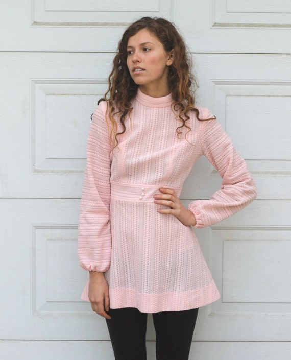 Vintage 70s Pale Pink SUPER MINI Dress S