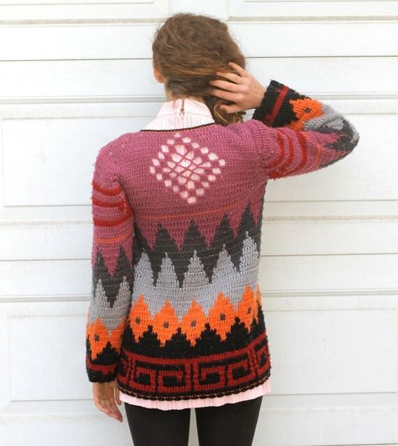 Vintage 70s GEOMETRIC BOHEMIAN Long Cardigan Sweater S/M