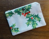 Christmas Holly Zipper Pouch, Coin Purse Made From a Vintage Tablecloth