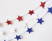 Red Paper Star Garland Party Banner (9 feet) 4th of July Bunting