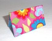 Pink and Blue Floral Business Card Holder or Credit Card Case
