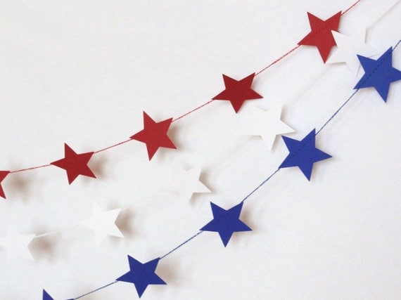 Blue Paper Star Garland Party Banner (9 feet) 4th of July Bunting