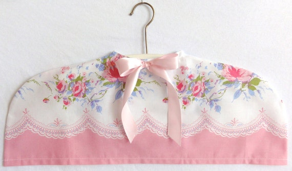 Pink Roses with Scalloped Border Clothing Dust Cover with Satin Bow, Hangers, Shoulders, Closet Organizer