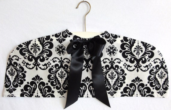Black and White Damask Clothing Dust Cover with Satin Bow, Hangers, Shoulders, Closet Organizer