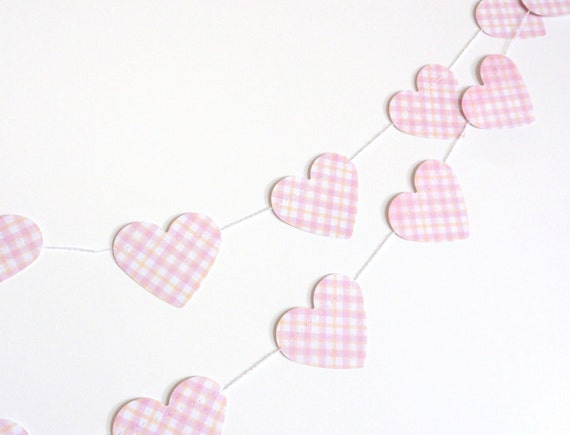 Pink Plaid Paper Heart Garland Party Banner (10 feet) Pastel