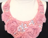 Jeweled bib statement necklace pink lace necklace applique necklace beaded pearl necklace silver rhinestone necklace-Pretty In Pink Necklace