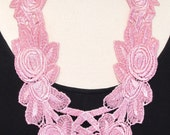 Statement necklace lace necklace pink necklace long necklace floral necklace pink lace ribbon necklace bib necklace-Pink Blush Necklace