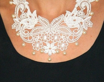 Lace necklace bridal necklace pearls and lace statement necklace vintage style bib necklace -Vintage Romance Necklace