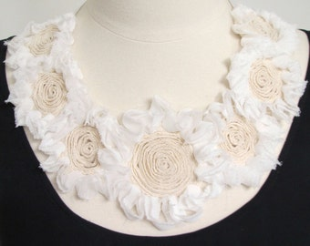 Statement necklace bib necklace applique flower necklace spring necklace ribbon bow necklace white and cream flowers-Spring Blooms Necklace