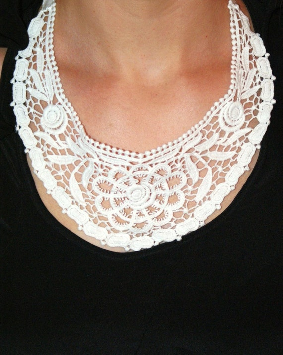 White lace necklace collar necklace bridal necklace floral lace statement necklace wedding- Madeline Necklace