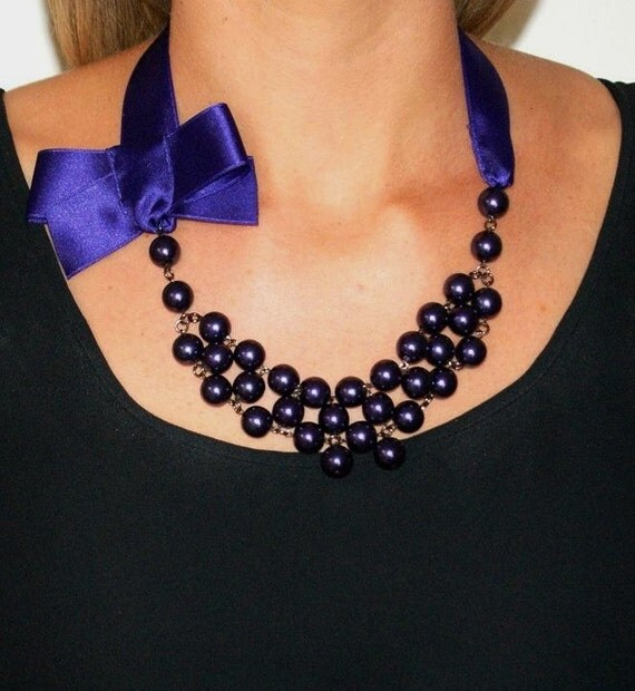 Pearl necklace statement necklace purple pearl necklace ribbon bow necklace pearls and bow necklace purple bow -Miss Lola Necklace