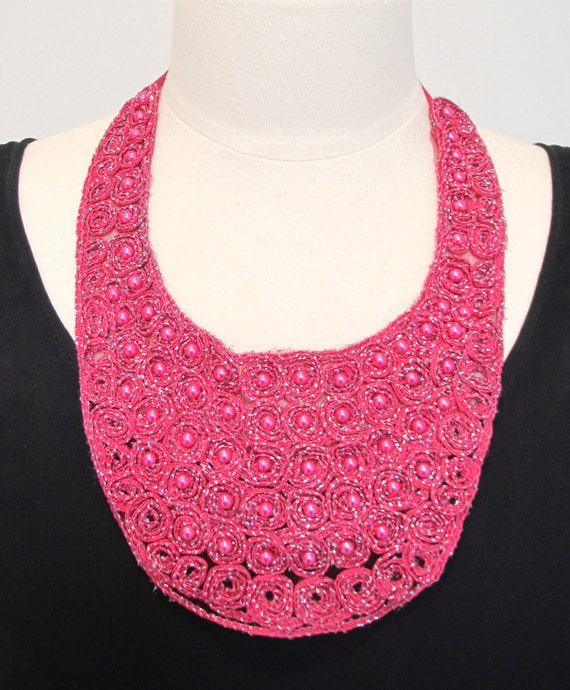 Pink necklace hot pink statement necklace bib necklace fabric lace necklace pearl necklace ribbon necklace-Raspberry Crush Necklace