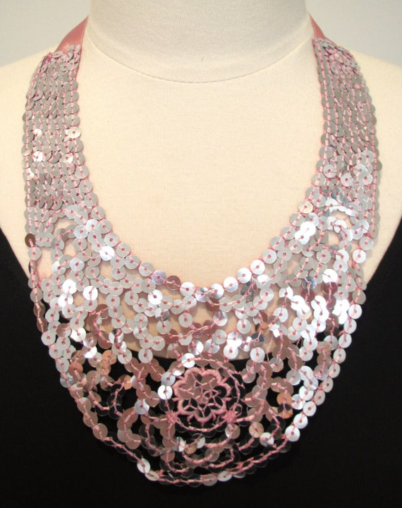 Sequin necklace pink sparkly necklace ribbon necklace party necklace pale pink-All That Glitters Necklace