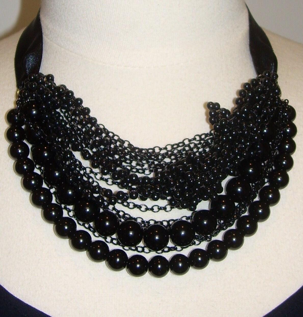 black statement necklace black pearl necklace by kirstenann. Black Bedroom Furniture Sets. Home Design Ideas