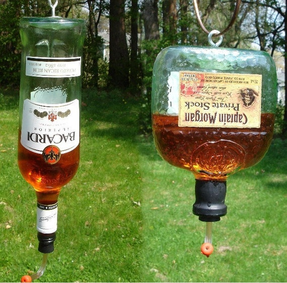 Hummingbird Feeder from recycled Captain Morgan Private Stock or Bacardi Bottle