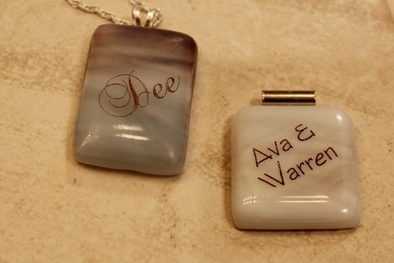 Fused Glass Pendant Name and Color Customized for You