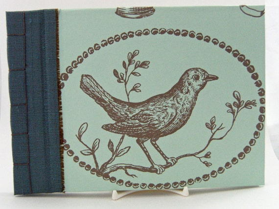 Wedding Guest Book, Bird and Nest - Japanese Stab Stitch - 8.25 x 6ins - Ready to Ship