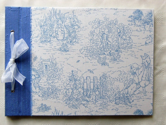 Baby Photo Album - Large Silk & Beatrix Potter Fabric Album - Ready to Ship