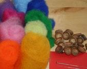 Wool DIY kit for making acorns needle felted