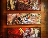 3 Pieces set (triptych)-NYC Graffiti art on canvas original mixed media urban landscape street art