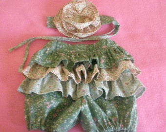 Childs handmade flower fairy ruffle bum bloomers and flower headband size 12-18 months