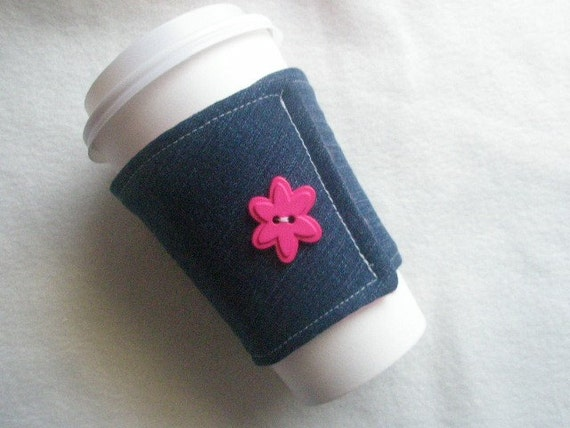Recycled Denim Coffee Cozy