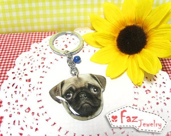 Tan Pug dog head keychain / Pug keychain / Pug memorial / Pug lover / dog lover / pug accessories / dog / gift / present /  A0015-K D07