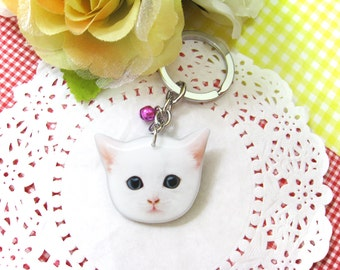 Kawaii White Kitten head keychain - A0015-K C15 Made To Order