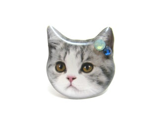 Grey and white Shorthair cat head ring - A0010-R C3