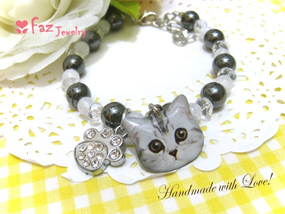 Cute Cat Iron Stone Crystal Bracelet - B013