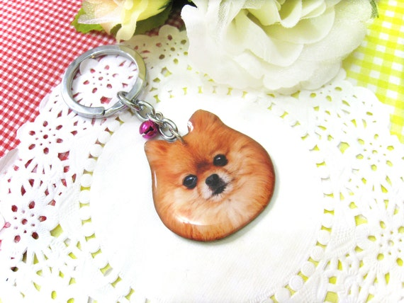 Brown Pomeranian dog head keychain - A0015-K BP Made To Order
