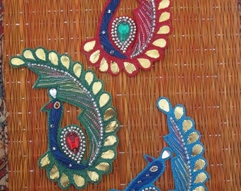 Set of 3 pc Peacock Applique in Red Green Blue Colour