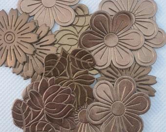 Set of 30 Copper Leather Look Floral Applique